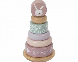 Little Dutch Holz-Stapelturm personalisiert rosa